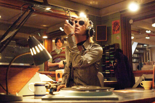 Rhys ifans broadcasting Radio Rock from aboard Pirate Radio