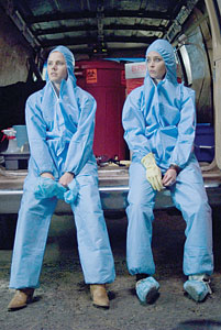 Amy Adams, Emily Blunt in hazmat suits - Sunshine cleaning
