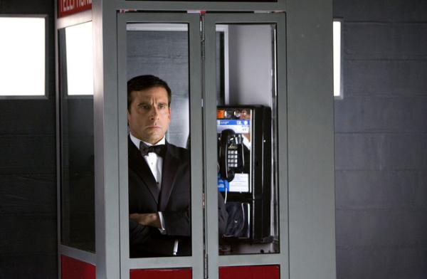 Steve Carrel as Maxwell Smart - in phone booth elevator