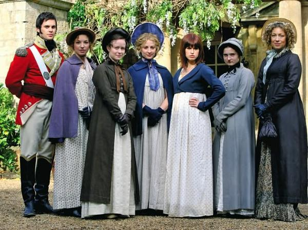 Lost in Austen - Bennet girls, George Wickham & Amanda Price (Jemima Rooper)