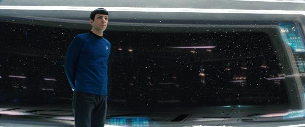 Zachary Quinto as Spock standing on the bridge of the Starship Enterprise - Star Trek